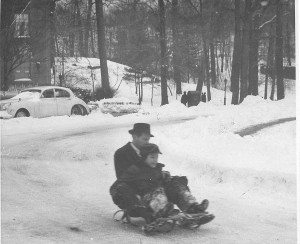 Sledding with my father by our apartment